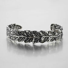 SILVER BRACELET BANGLE STAINLESS STEEL LEAVES CUFF VINTAGE STYLE