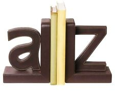 """BRAND NWT SET of 2 BROWN Faux Leather Metal Alphabet """"A to Z"""" Letter BOOKENDS"""