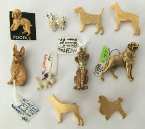 Lot 10 of Vintage Dog Pins Metal Gold Jewelry Poodles-Schnauzer-Sheperd-Scotty