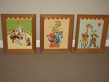Vintage 1960's Paint By Numbers CIRCUS Clown Horse Monkey Elephant Nursery