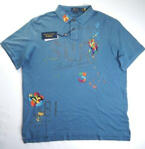 POLO RALPH LAUREN Men's Classic Fit Tropical Graphic Embroidered Polo Shirt NWT