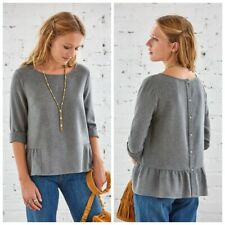 Sezane Alexis Wool Button Back Ruffle Gray Casual Blouse Top Medium M 40 New