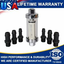"9706 Clearview Inline Chrome Fuel Filters Universal Fittings For 1/4"" 5/16"" 3/8"""