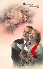 BG8444 buon natale angel couple  christmas greetings italy