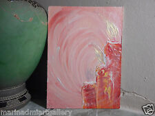 "Painting signed MDmi handmade oil canvas modern abstract art original 8"" love ❤️"
