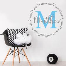 Personalizar inicial & Bebé Niño Nombre Guardería Habitación Mural Adhesivo Decoración de la etiqueta del vinilo