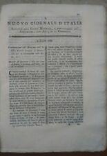 1789 RIVISTA NUOVO GIORNALE D'ITALIA: RAPE MONTECCHIO EMILIA AGRICOLTURA DALMATA