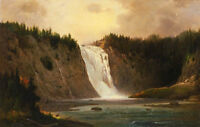 Oil painting Robert Duncanson Waterfall Mont Morency free shipping landscape art