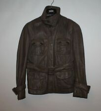 Grey Brown Leather NEXT Zip Belt Hip Length fitted Biker Jacket Size 12 / 40