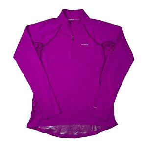 Columbia Omni-Heat 1/4 Zip Mock Neck Thumbhole Long Sleeve Purple Womens L Large