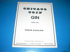 Chicago Coin Gin Pinball Parts Catalog Ex 30 pages original #446
