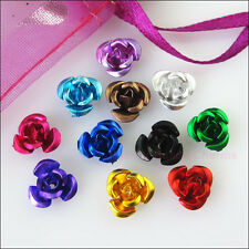 100 New Charms Mixed Aluminum Beautiful Flower Spacer Beads 8mm