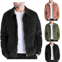 Mens Casual Autumn Winter Coat Casual Long Sleeve Solid Tops Corduroy Coats New