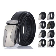 Men' Automatic Buckle Belt PU Leather Belts Waist Ratchet Business Waistband Hot