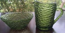 Vintage Avocado Green Ribbed Glass Creamer And Sugar Bowl