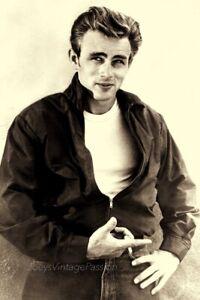 """1950's James DEAN Black Bomber Jacket Holding a Cigarette 4""""x6"""" Reprint Photo M1"""