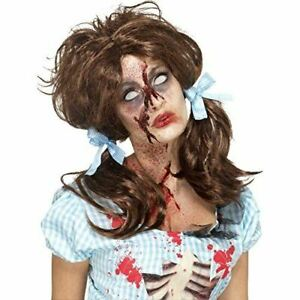 Zombie Bloody Country Girl Wig Pigtails Fancy Dress Accessory