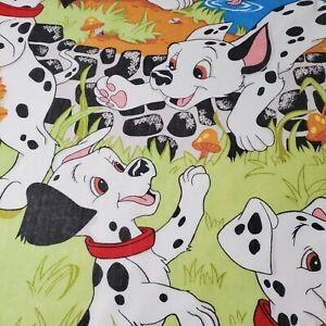 Vintage Disney 101 Dalmations Twin Flat Sheet  Puppies Dogs Cotton Blend USA