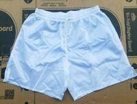 Vtg 90s White Satin Shiny Soccer Shorts Drawstring XL/XXL MSRP $39.99
