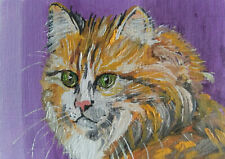 ACEO Cat Original Oil painting Art 2.5x3.5in artist VC