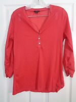 The Limited Women's Top Sheer Red Polka Dot Tunic 3/4 Sleeve Size Large