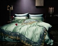 Luxury Noble 80S Tencel Embroidered Bedding Set  Lace Cover Bed Sheet Set 4/6pcs