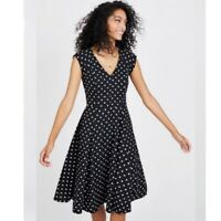 Modcloth Black & White Polka Dot Skater Dress Cap Sleeve Womens Size Large L