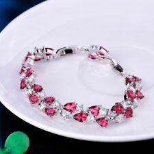 White Gold Filled Fashion Chams Women Red Garnet Topaz Crystal Chain Bracelet