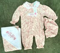 NWT Chelsea's Corner Baby Girl 3mo Pink White Floral Hat Jumpsuit Hooded Blanket