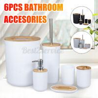 6PCS Bathroom Accessories Set-Bin Toothbrush Tumbler Holder Soap Dish Dispenser