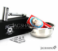 DE Safety Razor Delivers close comfortable shave Arko Soap stick & shaving Bowl