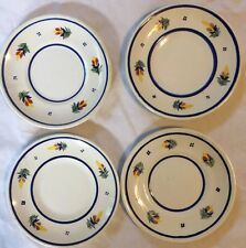 """Set Of Four Hand Painted 6"""" Bread/Dessert Plates From Henriot Quimper"""