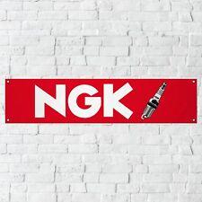 NGK Spark Plugs Banner Garage Workshop PVC Sign Trackside Car Motorcycle Display
