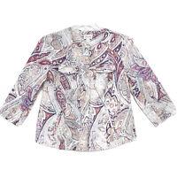 Chico's Sz 0 LINEN Hidden Zip Shirt Jacket Womens S Muted Collarless 3/4 Sleeve