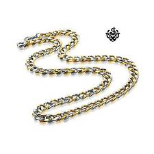 Silver gold 2-tone necklace solid stainless steel Miami Cuban Link Chain 24""