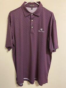 Peter Millar Summer Comfort Men's Golf Polo Size Medium M Bear Dance Red Blue