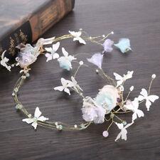 Wedding Bridal Flower Butterfly Headband Pearl Bead Colorful Wreath Hair Band