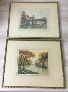 2 Antique LOUIS MILL OF THE FISHERMAN/RIVER (1873–1952) Aquatint Framed SIGNED