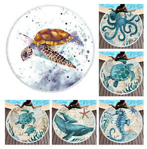 Novelty Sea Horse Turtle Whale Octopus Pattern Large Beach Towel Shawl Blanket