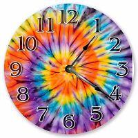 "10.5"" COLORFUL TIE DYE BOHEMIAN CLOCK - Large 10.5"" Wall Clock - Home Decor 3360"