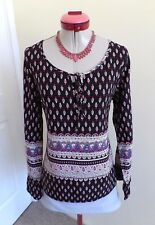 BOHO PAISLEY Black White Red TOP Size 10 BNWT NEW Atmos & Here Print Blue Pink