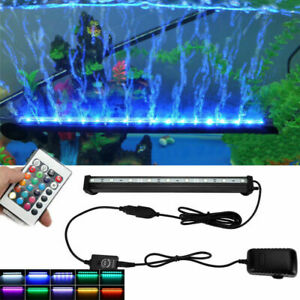 Colourful LED Air Bubble Curtain Submersible Light Bar for Fish Tank Aquarium US