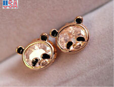 Fashion jewelry Girl Gold Plated Cute Panda Animal Crystal Ear Stud Earrings