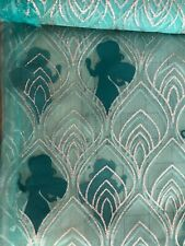 Disney Aladdin SHEER Teal Silver Organza Princess Jasmine Silhouette Fabric BTHY