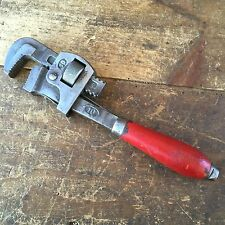 Vintage PIPE WRENCH Wooden Handle SHIFTER Spanner Old Antique Plumbers Tool #111