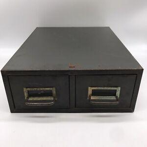 Vintage Steel Metal Green Library 2 Drawer File Card Catalog Cabinet