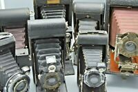 Lot of 7 Vintage Folding Cameras, Kodak, Ansco, Red Bellows ++++