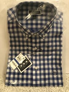 Club Room Men's XL Blue White Checkered Button Casual Dress Shirt Brand New