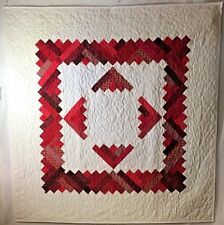 """Red & White Quilt Wall Hanging Cotton 43"""" x 42"""" Love my Pet or Child"""