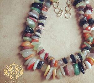 Gem Mix Citrine Quartz Amethyst Jade Opal Agate Jasper Stone Statement Necklace